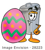 #28223 Clip Art Graphic Of A Metal Trash Can Cartoon Character Standing Beside An Easter Egg