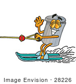 #28226 Clip Art Graphic Of A Metal Trash Can Cartoon Character Waving While Water Skiing