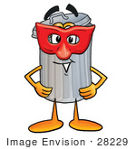 #28229 Clip Art Graphic Of A Metal Trash Can Cartoon Character Wearing A Red Mask Over His Face