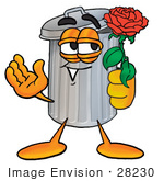 #28230 Clip Art Graphic Of A Metal Trash Can Cartoon Character Holding A Red Rose On Valentines Day