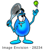 #28234 Clip Art Graphic Of A Blue Waterdrop Or Tear Character Preparing To Hit A Tennis Ball