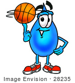 #28235 Clip Art Graphic Of A Blue Waterdrop Or Tear Character Spinning A Basketball On His Finger
