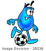 #28236 Clip Art Graphic Of A Blue Waterdrop Or Tear Character Kicking A Soccer Ball