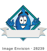 #28239 Clip Art Graphic Of A Blue Waterdrop Or Tear Character Over A Blank White Banner On A Label With A Diamond