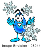 #28244 Clip Art Graphic Of A Blue Waterdrop Or Tear Character With Three Snowflakes In Winter