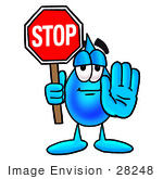 #28248 Clip Art Graphic Of A Blue Waterdrop Or Tear Character Holding A Stop Sign