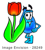 #28249 Clip Art Graphic Of A Blue Waterdrop Or Tear Character With A Red Tulip Flower In The Spring