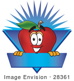 #28361 Clip Art Graphic Of A Red Apple Cartoon Character On A Blank Blue Label Logo