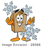 #28366 Clip Art Graphic Of A Cardboard Shipping Box Cartoon Character With Three Snowflakes In Winter