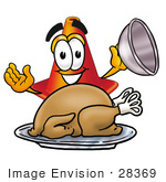 #28369 Clip Art Graphic Of A Construction Traffic Cone Cartoon Character Serving A Thanksgiving Turkey On A Platter