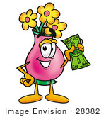 #28382 Clip Art Graphic Of A Pink Vase And Yellow Flowers Cartoon Character Holding A Dollar Bill