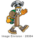 #28384 Clip Art Graphic Of A Hammer Tool Cartoon Character Hiking And Carrying A Backpack