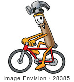 #28385 Clip Art Graphic Of A Hammer Tool Cartoon Character Riding A Bicycle