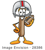 #28386 Clip Art Graphic Of A Hammer Tool Cartoon Character In A Helmet Holding A Football