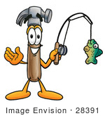 #28391 Clip Art Graphic Of A Hammer Tool Cartoon Character Holding A Fish On A Fishing Pole