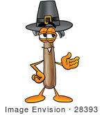 #28393 Clip Art Graphic Of A Hammer Tool Cartoon Character Wearing A Pilgrim Hat On Thanksgiving