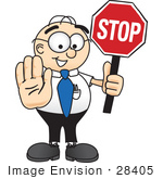 #28405 Clip Art Graphic Of A Geeky Caucasian Businessman Cartoon Character Holding A Stop Sign