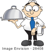 #28408 Clip Art Graphic Of A Geeky Caucasian Businessman Cartoon Character Serving A Platter
