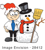 #28412 Clip Art Graphic Of A Geeky Caucasian Businessman Cartoon Character With A Snowman On Christmas