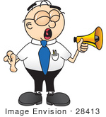 #28413 Clip Art Graphic Of A Geeky Caucasian Businessman Cartoon Character Screaming Into A Megaphone