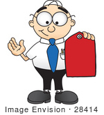 #28414 Clip Art Graphic Of A Geeky Caucasian Businessman Cartoon Character Holding A Red Sales Price Tag