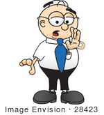 #28423 Clip Art Graphic Of A Geeky Caucasian Businessman Cartoon Character Whispering And Gossiping by toons4biz