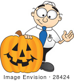 #28424 Clip Art Graphic Of A Geeky Caucasian Businessman Cartoon Character With A Carved Halloween Pumpkin