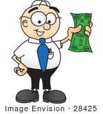 #28425 Clip Art Graphic Of A Geeky Caucasian Businessman Cartoon Character Holding A Dollar Bill
