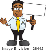 #28442 Clip Art Graphic of a Geeky African American Businessman Cartoon Character Holding a Blank Sign by toons4biz