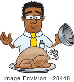 #28448 Clip Art Graphic Of A Geeky African American Businessman Cartoon Character Serving A Thanksgiving Turkey On A Platter