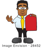 #28452 Clip Art Graphic Of A Geeky African American Businessman Cartoon Character Holding A Red Sales Price Tag
