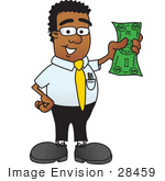 #28459 Clip Art Graphic Of A Geeky African American Businessman Cartoon Character Holding A Dollar Bill