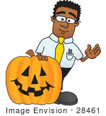 #28461 Clip Art Graphic Of A Geeky African American Businessman Cartoon Character With A Carved Halloween Pumpkin
