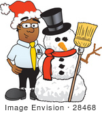 #28468 Clip Art Graphic Of A Geeky African American Businessman Cartoon Character With A Snowman On Christmas