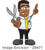 #28471 Clip Art Graphic Of A Geeky African American Businessman Cartoon Character Holding A Pair Of Scissors