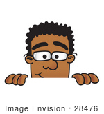 #28476 Clip Art Graphic of a Geeky African American Businessman Cartoon Character Peeking Over a Surface by toons4biz
