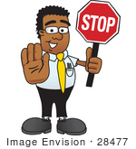 #28477 Clip Art Graphic Of A Geeky African American Businessman Cartoon Character Holding A Stop Sign