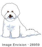 #28959 Cartoon Clip Art Graphic Of A White Bichon Frise Dog