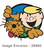 #28960 Cartoon Clip Art Graphic Of A Happy Freckled Blond Boy With His Dog