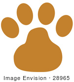 #28965 Cartoon Clip Art Graphic of a Brown Dog Paw Print by Andy Nortnik