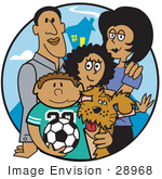 #28968 Cartoon Clip Art Graphic of a Two Parents Standing With Their Son, Daughter and the Family Dog by Andy Nortnik