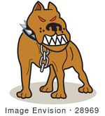 #28969 Cartoon Clip Art Graphic of a Mean Pitbull With Red Eyes in the Red Zone, Growling by Andy Nortnik
