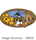 #28970 Cartoon Clip Art Graphic Of A Three Dogs Taking Their Dog Walker For A Walk