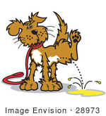 #28973 Cartoon Clip Art Graphic of a Dog on a Leash, Lifting His Leg to Pee by Andy Nortnik