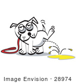 #28974 Cartoon Clip Art Graphic Of A White Dog On A Leash Lifting His Leg And Urinating