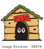 #28978 Cartoon Clip Art Graphic of a Dog's Eyes in a Dog House by Andy Nortnik