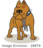 #28979 Cartoon Clip Art Graphic of a Tough Brown American Pitbull Terrier Dog With Red Eyes, Wearing A Spiked Collar And A Broken Chain by Andy Nortnik