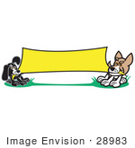 #28983 Cartoon Clip Art Graphic Of A Two Dogs Playing Tug Of War With A Blank Yellow Banner