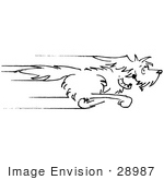 #28987 Cartoon Clip Art Graphic Of A Happy Dog Running As Fast As He Can