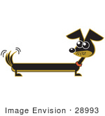 #28993 Cartoon Clip Art Graphic of a Long Brown and Black Wiener Dog Wagging His Tail by Andy Nortnik